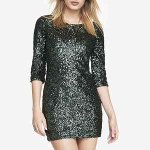 Express Hunter Green Sequin Dress