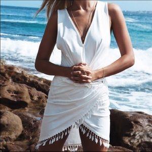 Sabo Skirt Tassel Hem Dress - White