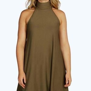 Boohoo Olive Green Sleeveless Turtleneck Dress