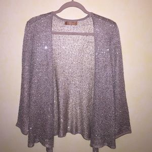 Sparkly sequin open knit cardigan