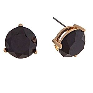 🎹👂🏼Faceted Round Black Button Post Earrings