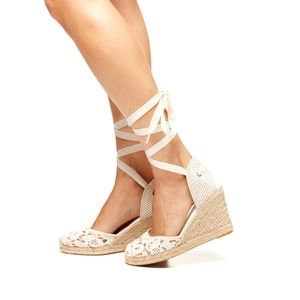 Soludos Shoes - Soludos Chantilly Lace Tall Wedge Sandal