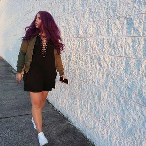 SALELace Up Solid Black Dress