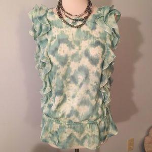 Loft ruffled printed blouse