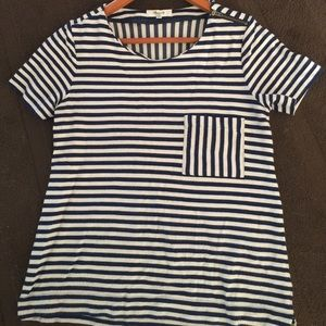Madewell navy and white striped top
