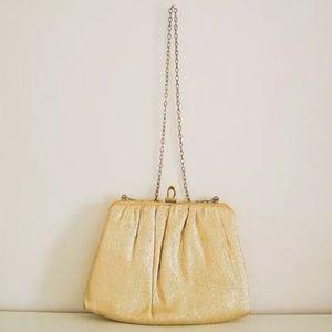 Handbags - Vintage gold Harry Levine lame purse w gold chain