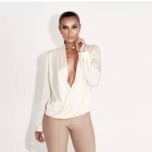 Tops - New ivory cross draped blouse