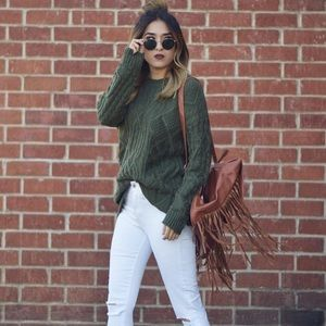 Olive Distressed Sweater