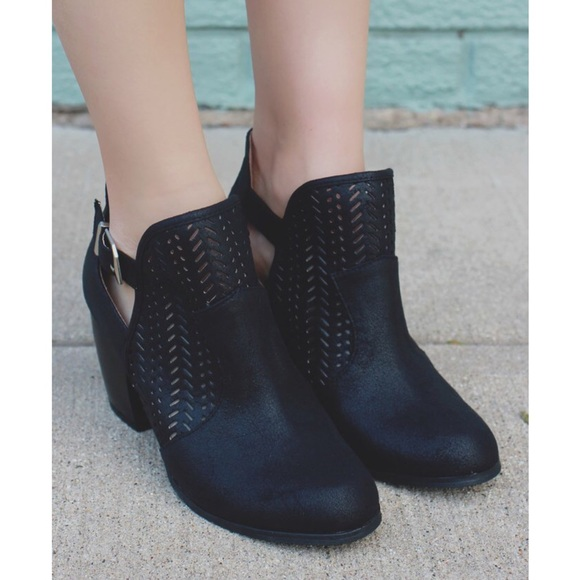 Bellanblue Shoes - KIRA chic cut out bootie - BLACK