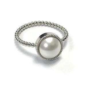 Swarovski Pearl Rings White Pearl with Gold Band
