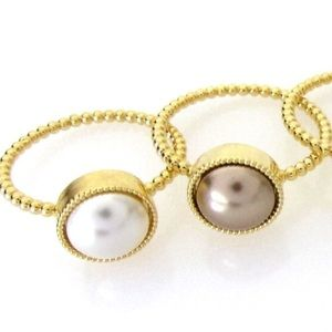 Swarovski Bronze Pearl Rings with Gold Band