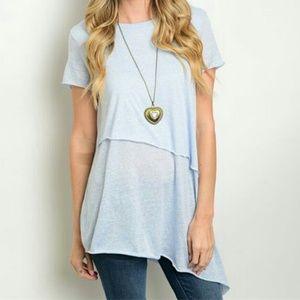 Tops - Short sleeve asymmetrical hem top