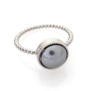 Swarovski Silver Pearl Rings with Silver Band