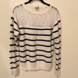 ASOS White & Navy Striped Lace Panel Sweater