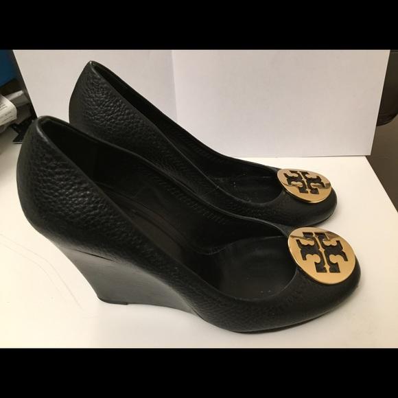 6a8a702aa Tory Burch Sally Wedge Platform Heels Black Size 7.  M 583f7d069c6fcf9905003cf0