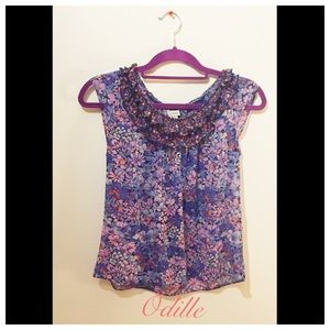 Final price- Anthro Odille Silk Floral Top