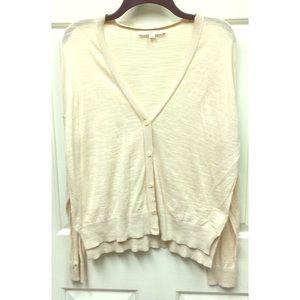 Loft Beige Cardigan Sweater size L
