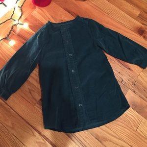 Gap nwt real corduroy shirt dress ruffled trim
