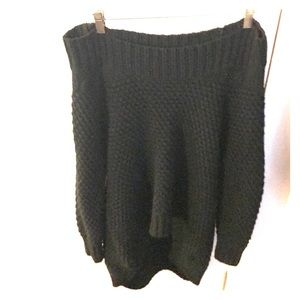 Off the shoulder hi-low waffle knit sweater