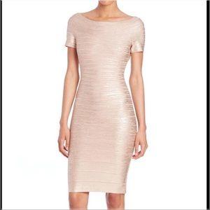 Herve Leger Dresses & Skirts - Herve Leger Carmen Off Shoulder Rose Gold Dress