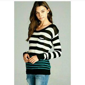 *SUPER SALE!* Teal Striped Sweater