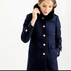Jcrew wool melton military coat w/ faux-fur collar