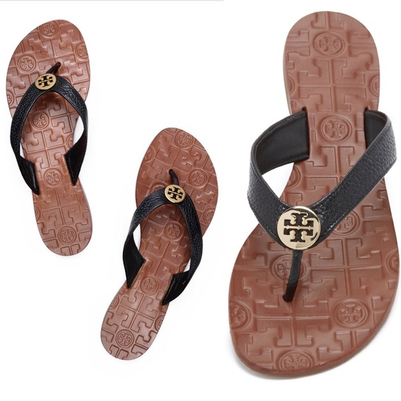 17ef5be7cbbe Tory Burch Thora Flat Sandal Thong Black Gold 8