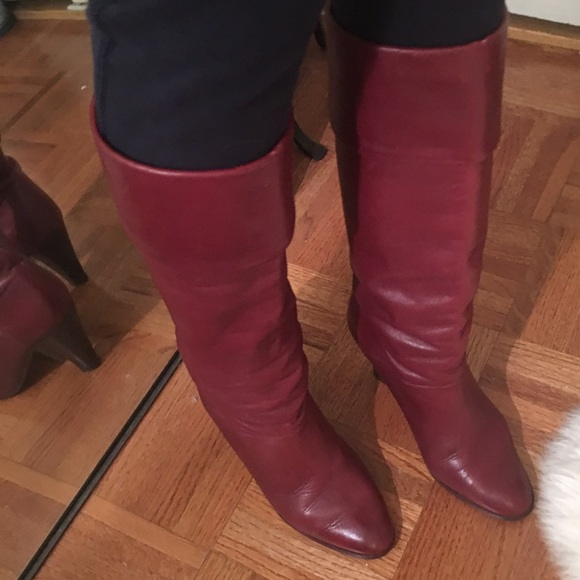 Vintage Red Leather Boots   Poshmark