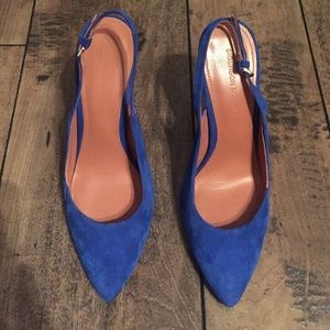 Sigerson Morrison blue suede sling backs