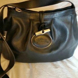 Longchamp  black leather crossbody bag purse