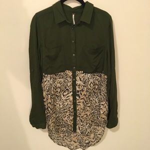 Free People Tops - FREE PEOPLE Army Leopard Printed Shirt Blouse