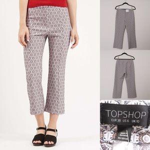 Topshop Printed Jacquard Crop Pants