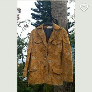 Vintage scalloped leather jacket 19 70s