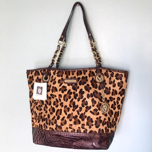 0b14d6dd45a5 Anne Klein Leopard Print Gold Chain Tote Bag Purse