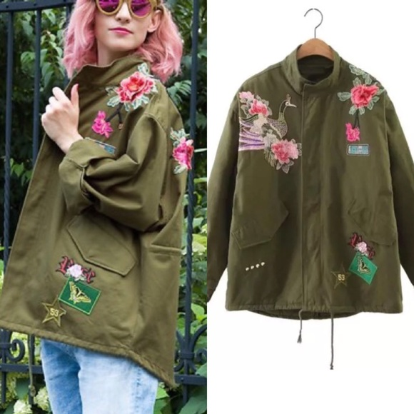 50% off Jackets & Blazers - NEWMilitary Green 3D Embroidered ...