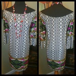 Mixed Print Off The Shoulder Dress