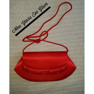 La Regale Handbags - LA REGALE RED SATIN EVENING BAG NWT