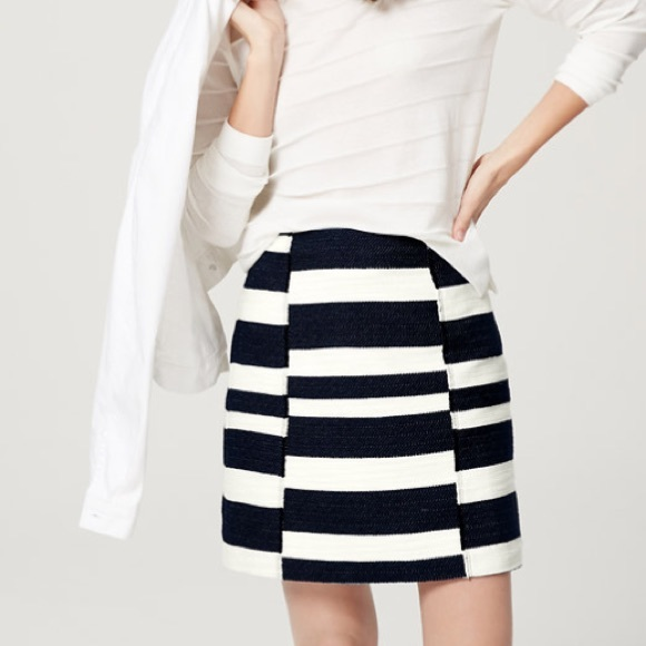 LOFT Dresses & Skirts - Loft Navy and White Striped Skirt
