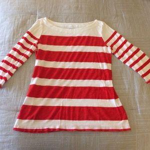 Orange and White Striped 3/4 Sleeve Loft Shirt