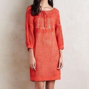 Anthropologie Korovilas Coral Crochet Dress Sz S