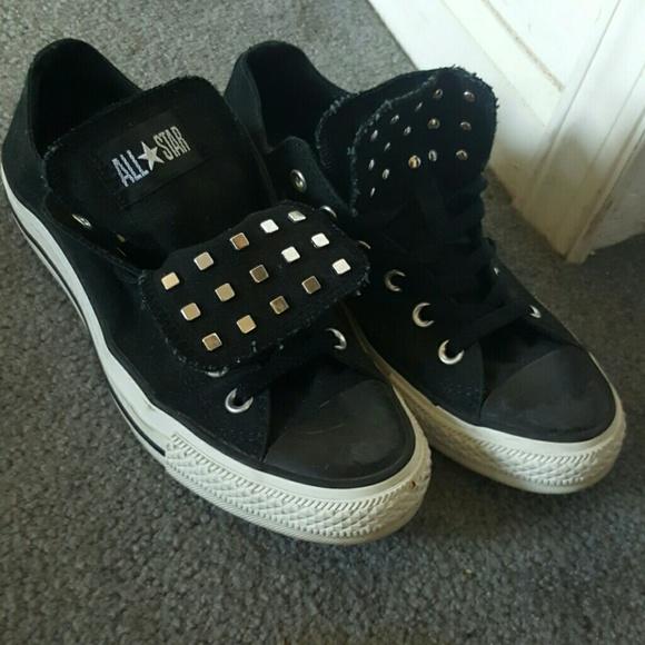 489cb13991d399 Converse Shoes - Black Double Tongue Converse women s 9