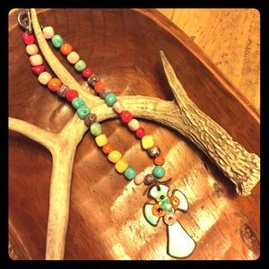 Jewelry - Western style clay cross beaded necklace