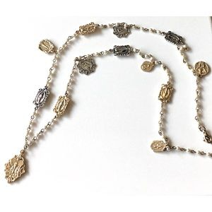 Boutique Jewelry - Jesus Mother Mary Pearl & Charm Long Necklace New