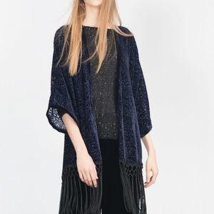 Zara Accessories - Zara Blue Fringe Kimono