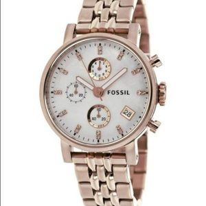 Fossil gold & mother of pearl chronograph watch