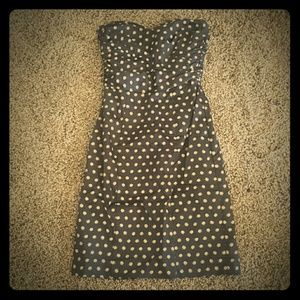 H&M Black and Beige Polka Dot Strapless Dress