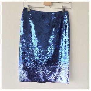 Lafayette 148 New York Dresses & Skirts - Lafayette 148 Blue Sequined Pencil Skirt