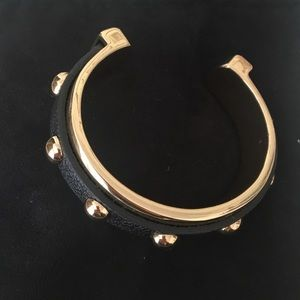 Banana Republic Gold Studded Black Leather Cuff