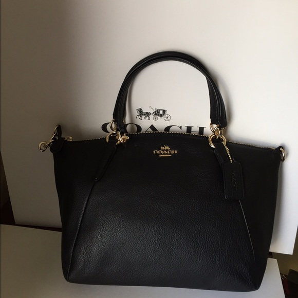 fe56432aec469 COACH SMALL KELSEY SATCHEL IN PEBBLE LEATHER BLACK