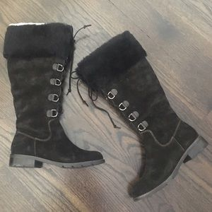 Sofft Lace up Black Suede & Fur Winter Boots